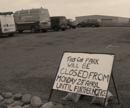 Car park closing sign Isle of Tiree